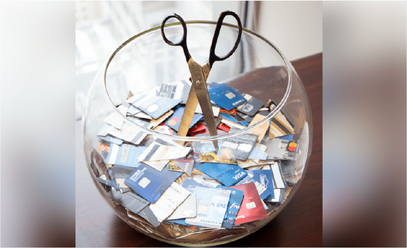 Bowl of cut up credit cards.  Geraci Law bankruptcy attorneys have helped eliminate more than a billion dollars in debt.